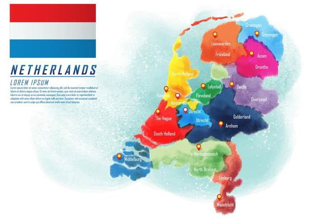 Painted Netherlands Map Vector - vector gratuit #385821