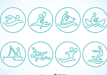 Water Sports Circle Icons - vector #386011 gratis