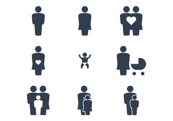 Happy Family Icons - vector #386071 gratis