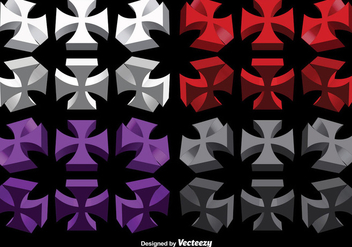Vector Set Of 3D Maltese Crosses - бесплатный vector #386081