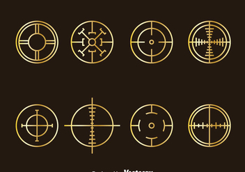 Golden Crosshairs Vector Set - Kostenloses vector #386251