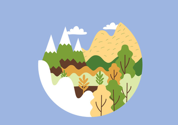 Circular Mountain Landscape Illustration - Free vector #386291