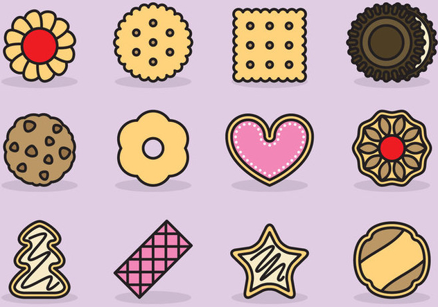 Cute Cookie Icons - vector gratuit #386301