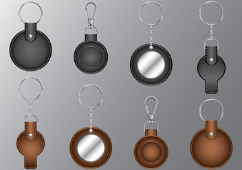 Leather Circle Keychains - vector #386411 gratis
