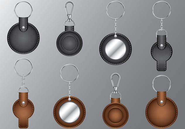 Leather Circle Keychains - Free vector #386411