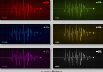 Vector Set Of Cardiogram Of Heart - vector gratuit #386551