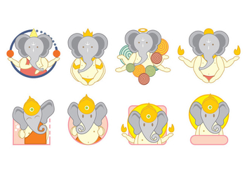 Ganesh Icons Vector - бесплатный vector #386681