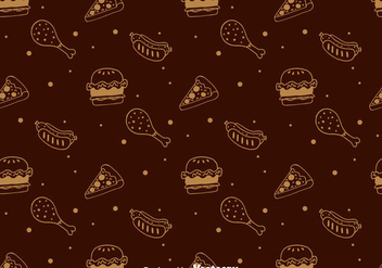 Hand Drawn Fast Food Pattern - vector gratuit #386711