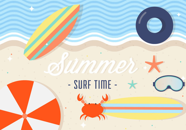 Free Summer Surfing Vector Background - Free vector #386751