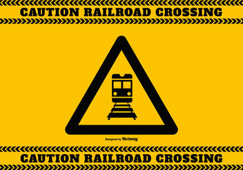Railroad Crossing Caution Sign - бесплатный vector #387101