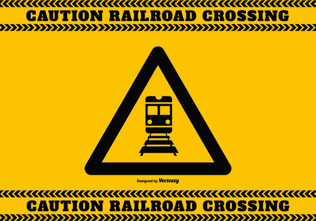 Railroad Crossing Caution Sign - vector gratuit #387101