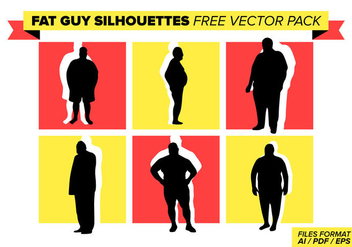Fat Guy Silhouettes Free Vector Pack - Free vector #387201