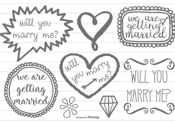 Hand Drawn Style Marry Me Doodles - Free vector #387231