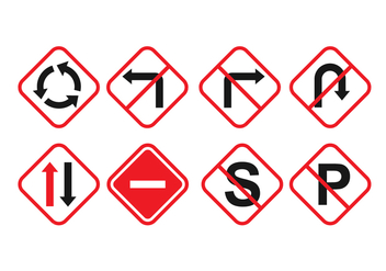 Free Vector Road Signs - vector gratuit #387491
