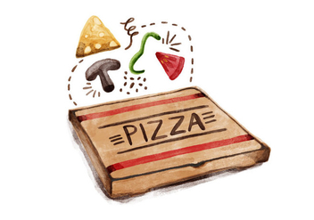 Free National Pizza Day Watercolor Vector - vector gratuit #387541