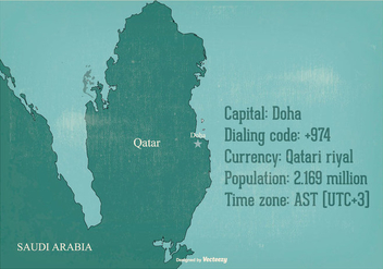 Old Qatar Map Illustration - Free vector #387601