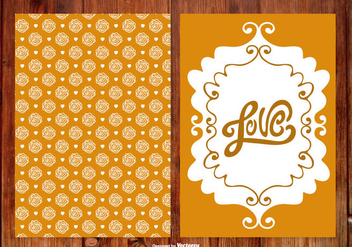 Rose Hand Drawn Wedding Cards - vector #387631 gratis