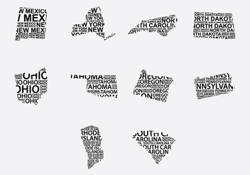 America Word Map Set 5 - vector #387701 gratis