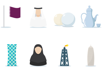 Qatar Flat Icon Set - vector #387841 gratis