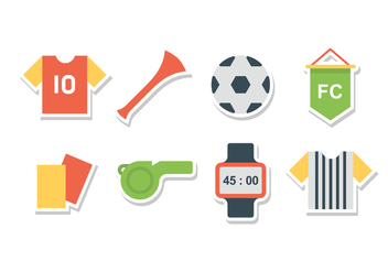 Free Flat Soccer Icon Set - Free vector #387971