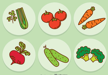 Vegetable Cartoon Icons Vector - Free vector #388121