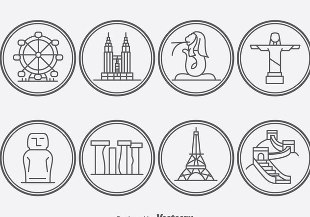 World Ladmark Outline Icons - Free vector #388131