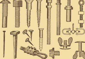 Screw And Nail Drawings - Free vector #388241