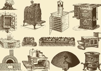Vintage Stoves And Ovens - vector gratuit #388631