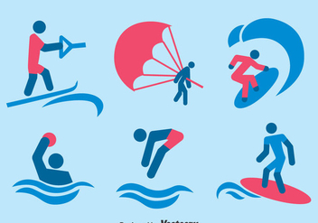 Water Sport Icons Vector - бесплатный vector #388791