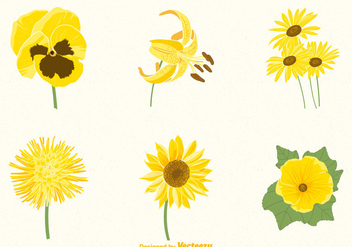 Free Yellow Flowers Vector Set - Kostenloses vector #388881