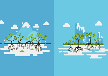 Mangrove trees green flat design - Free vector #388891