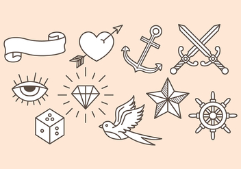 Old School Tattoo Icons - Free vector #388931