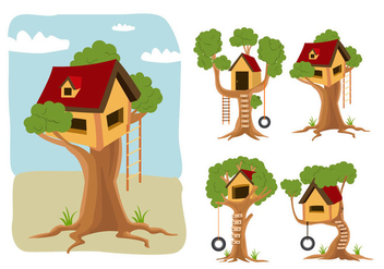 Treehouse vector cartoon - Kostenloses vector #389061