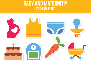 Free Baby and Maternity Sticker Icon Set - vector gratuit #389151
