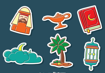Arabian Hand Drawn Sticker Collection - vector #389181 gratis