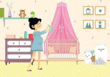 Free Pregnant Mom in Nursery Illustration - бесплатный vector #389241