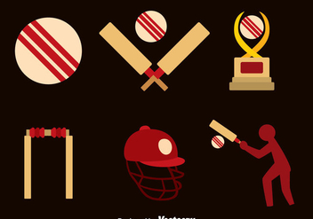 Cricket Element Flat Icons - Free vector #389571