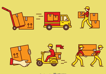 Delivery Man Vector Set - Free vector #389661