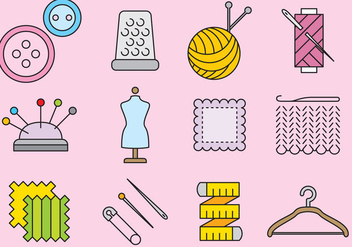 Cute Knitting Icons - Free vector #389701