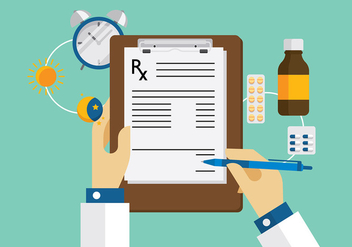Prescription Pad Workspace Vector - Free vector #389941