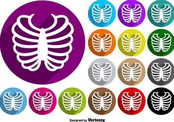 Rib Cage Icon Colorful Buttons Vector Set - Free vector #390081