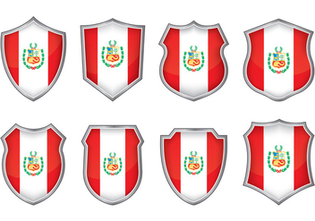 Peru Flag Badge Vectors - Kostenloses vector #390121