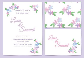 Pink Lilac Vector Wedding Invite - бесплатный vector #390191