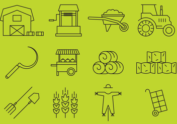 Farm Line Icons - Free vector #390211