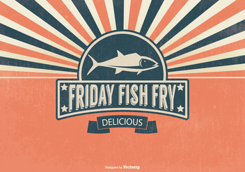 Retro Fish Fry Friday Illustration - Free vector #390391