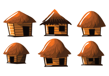 Straw Hut Shack Vector - бесплатный vector #390621