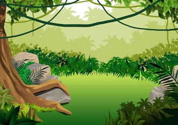 Jungle Landscape With Liana Hanging - Free vector #390671