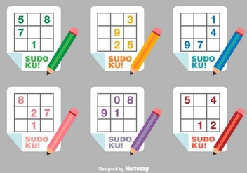 Sudoku Flat Vector Icons - Free vector #390921