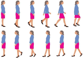Free Woman Walking Cycle Vector - vector gratuit #390951
