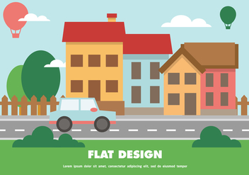 Flat Happy Cityscape Vector Background - бесплатный vector #390971